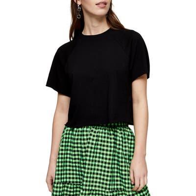 Topshop Raglan Crop T-Shirt, US (fits like 14) - Black