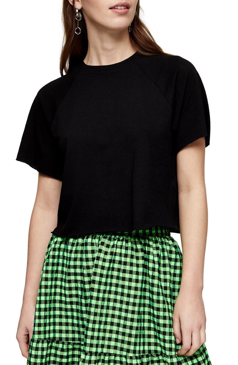 TOPSHOP Raglan Crop T-Shirt, Main, color, BLACK