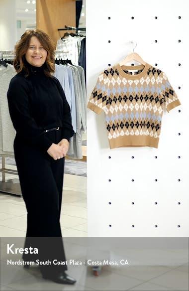 Short Sleeve Wool Blend Argyle Sweater, sales video thumbnail