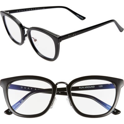 Quay Australia Run Around 5m Cat Eye Sunglasses - Black/ Clear Blue Light