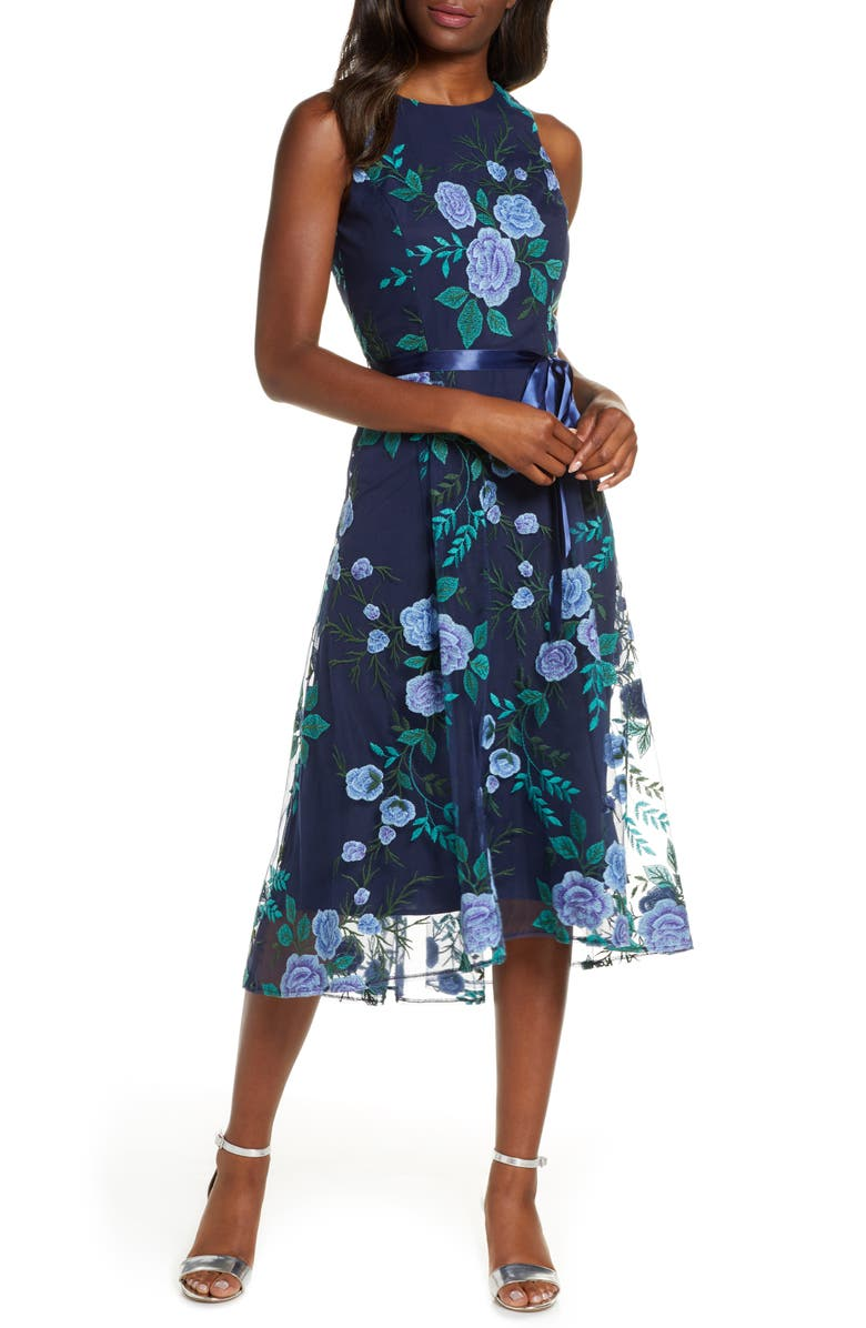 TAHARI Floral Embroidered Mesh Midi Dress, Main, color, NAVY BLUE GREEN