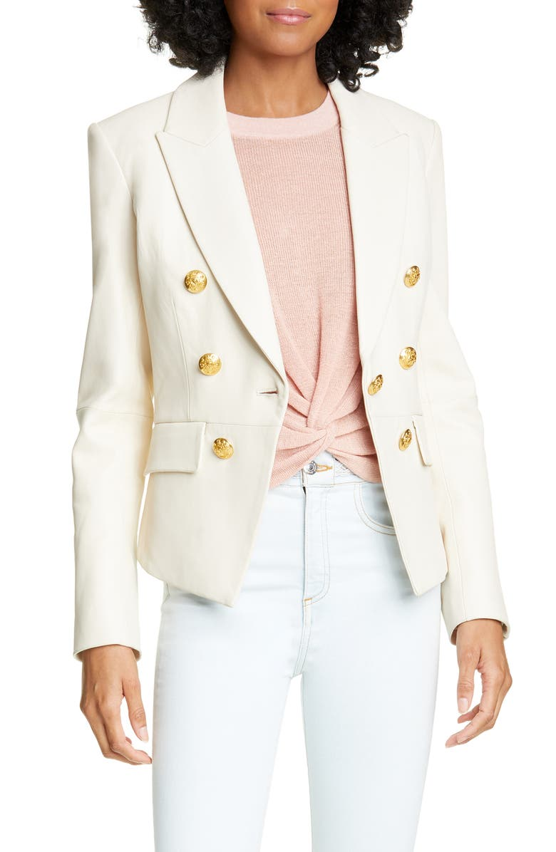 VERONICA BEARD Cooke Leather Dickey Jacket, Main, color, IVORY