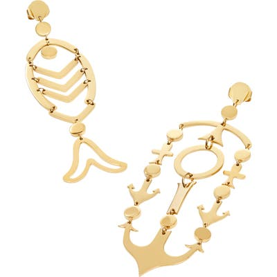Tory Burch Fish & Anchor Mismatched Earrings
