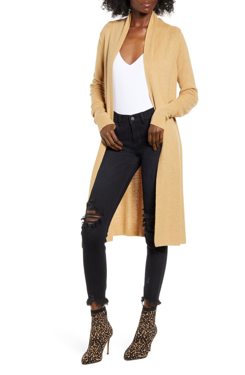 LEITH Longline Cardigan, Main, color, CAMEL