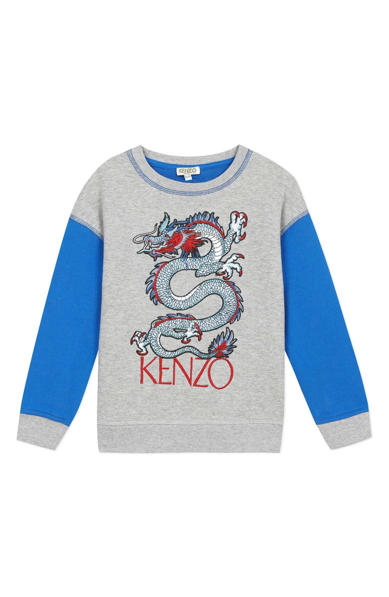 KENZO Embroidered Dragon Sweatshirt, Main, color, MARL GREY