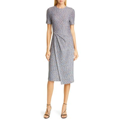 St John Collection Space Dyed Ribbon Tweed Sheath Dress, Blue