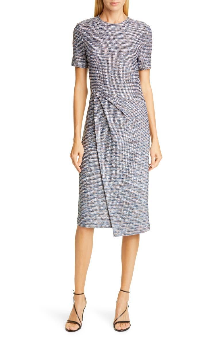 ST. JOHN COLLECTION St John Collection Space Dyed Ribbon Tweed Sheath Dress, Main, color, SCUBA BLUE MULTI