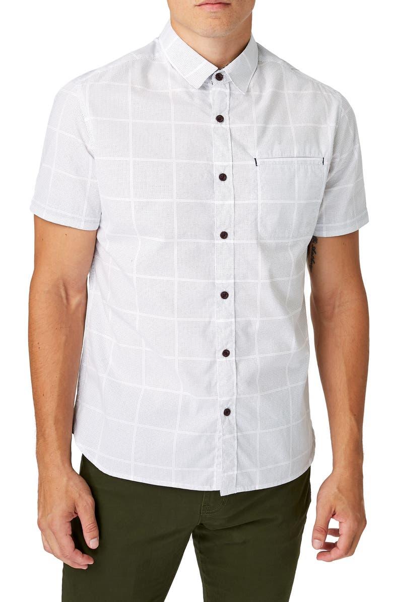 7 DIAMONDS Liquidator Slim Fit Check Short Sleeve Button-Up Sport Shirt, Main, color, 100
