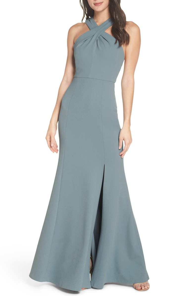 JENNY YOO Kayleigh Cross Front Crepe Knit Gown, Main, color, MAYAN BLUE