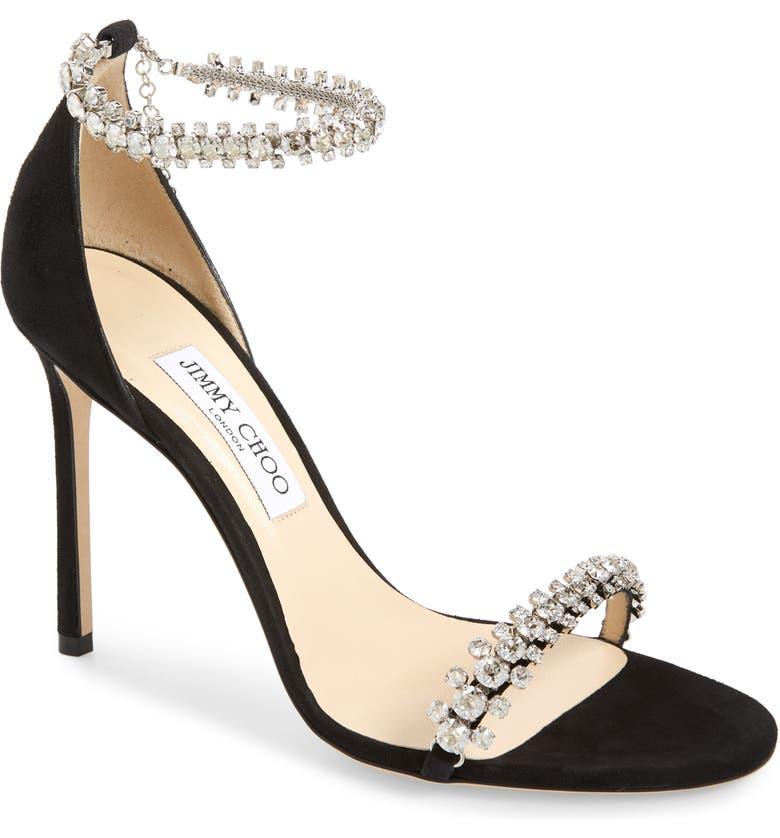 JIMMY CHOO Shiloh Jewel Embellished Sandal, Main, color, BLACK SUEDE