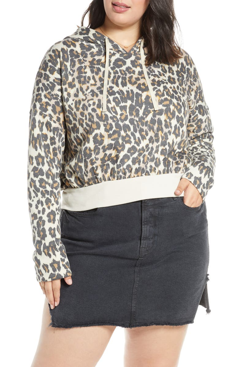 BP. Crop Hoodie, Main, color, BEIGE BIRCH LEOPARD DASH