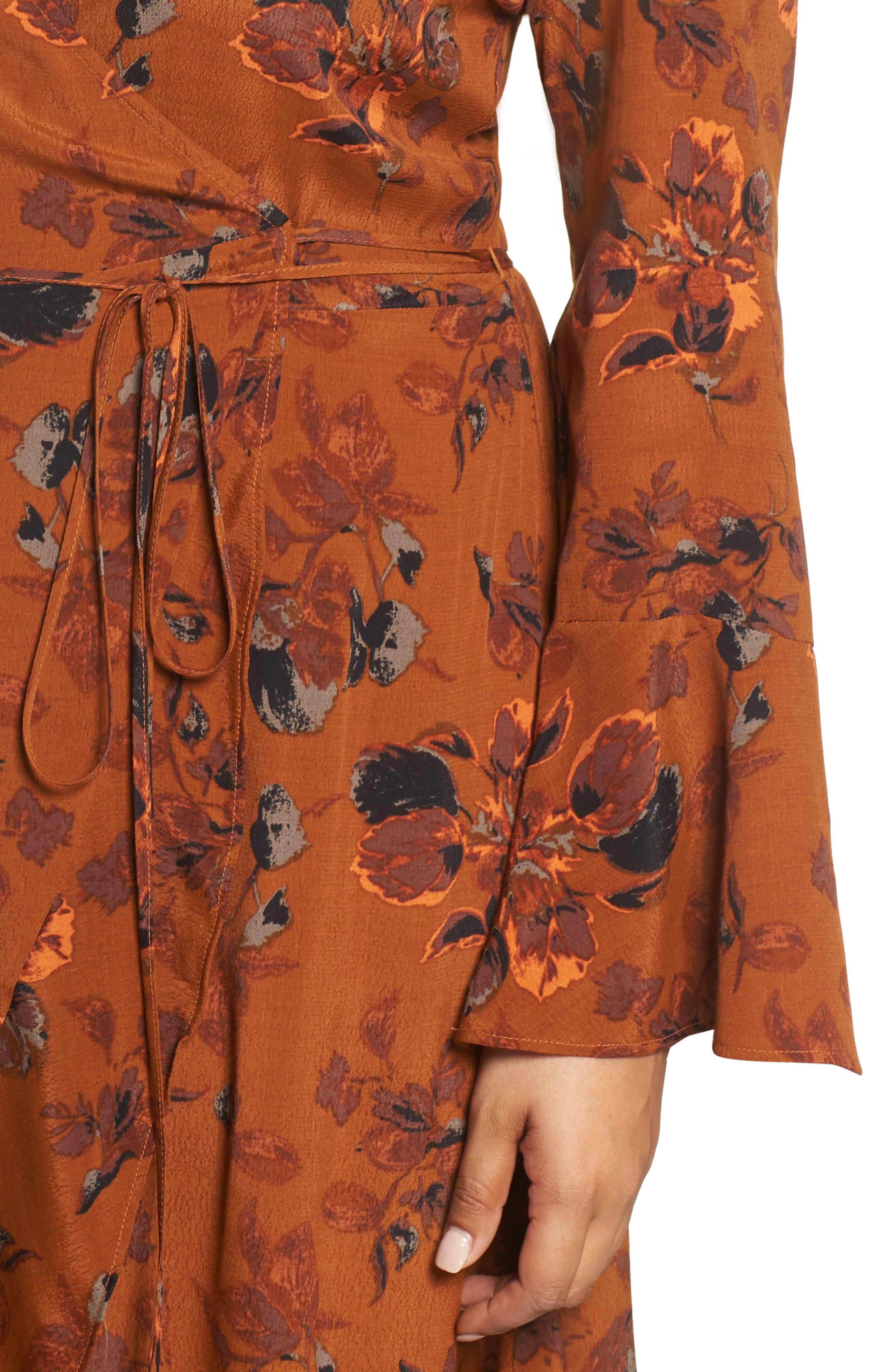 ,                             Bell Sleeve Wrap Midi Dress,                             Alternate thumbnail 11, color,                             RUST CARMEL FALL FOLIAGE