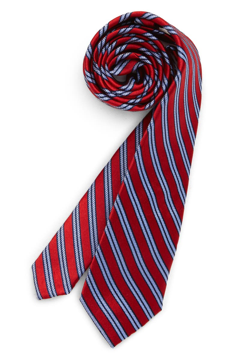 MICHAEL KORS Stripe Silk Tie, Main, color, RED