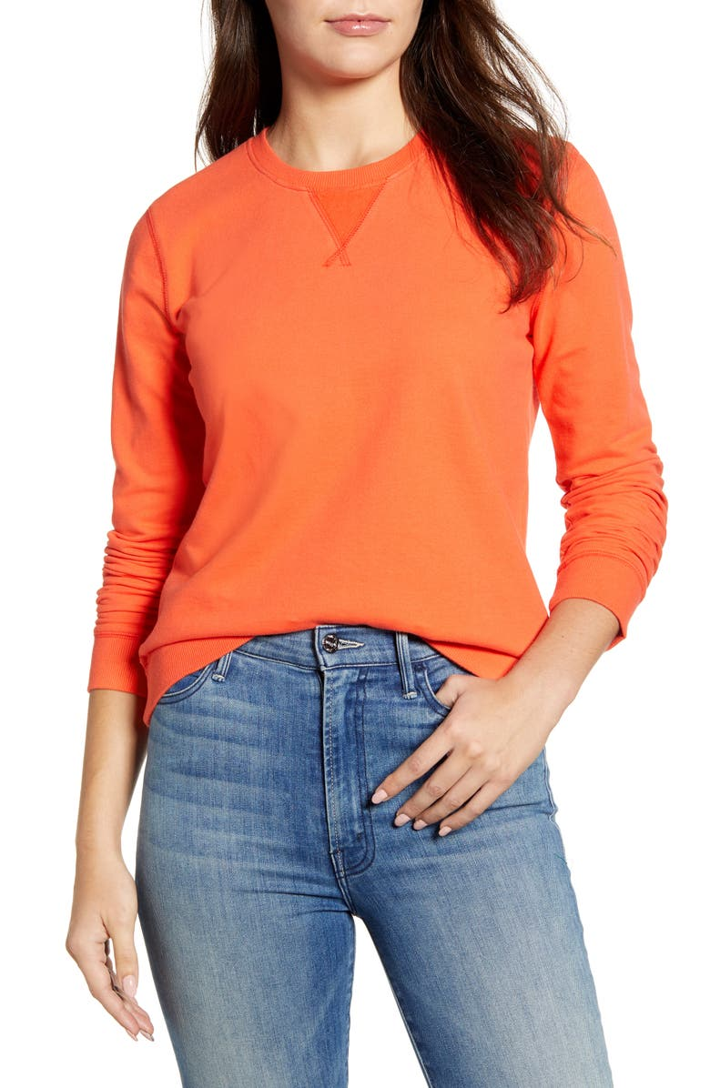 LUCKY BRAND Classic Crewneck Cotton Sweatshirt, Main, color, GRENADINE