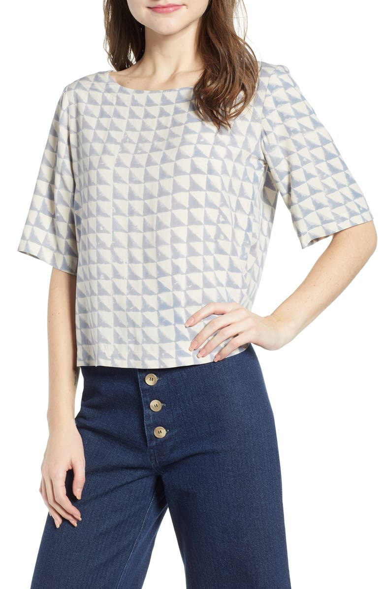 THE ODELLS Luna Print Top, Main, color, BARCA