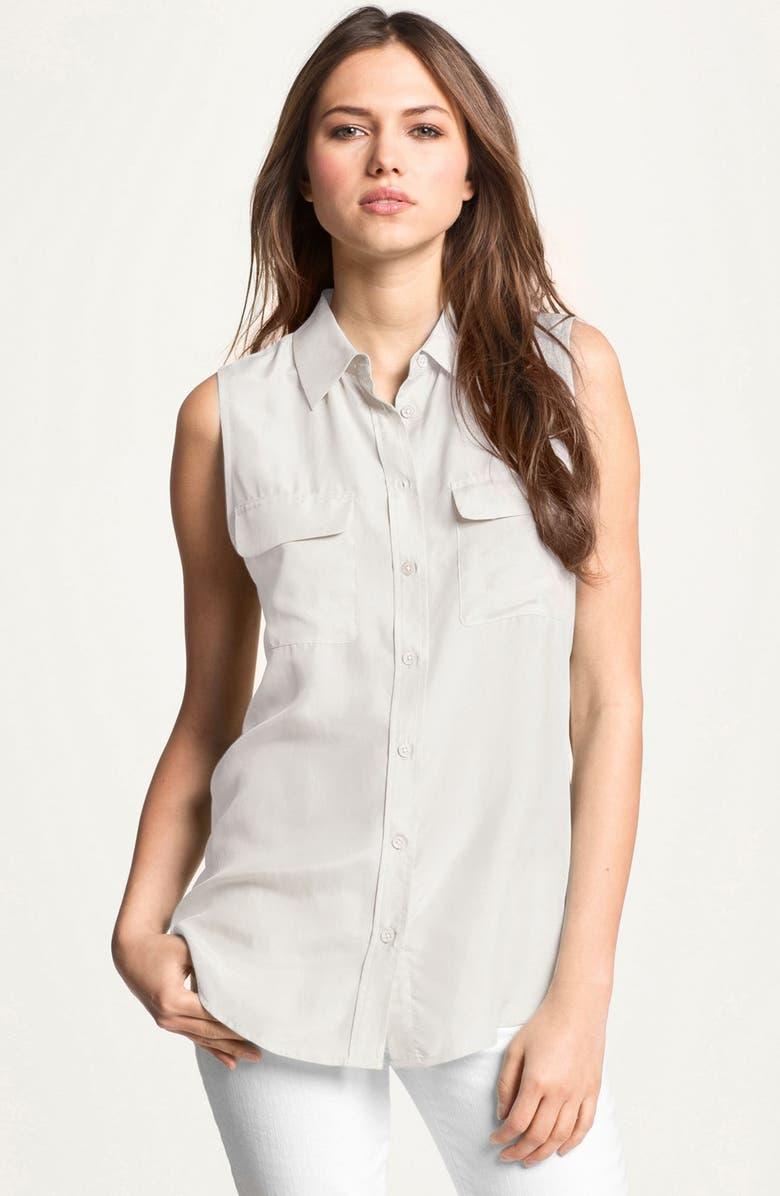 EQUIPMENT 'Slim Signature' Sleeveless Silk Shirt, Main, color, BRIGHT WHITE