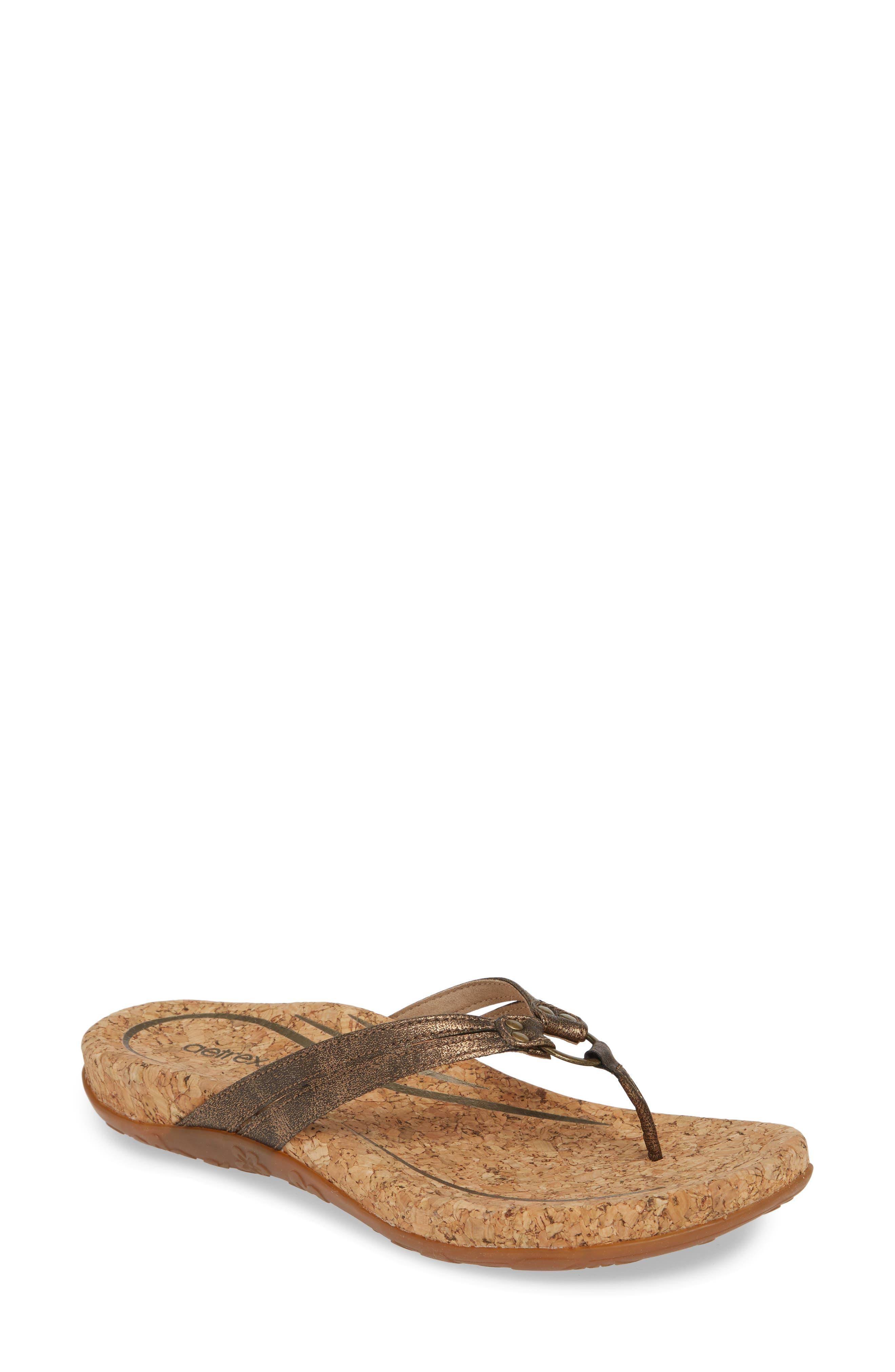 Aetrex Taylor Flip Flop, Brown