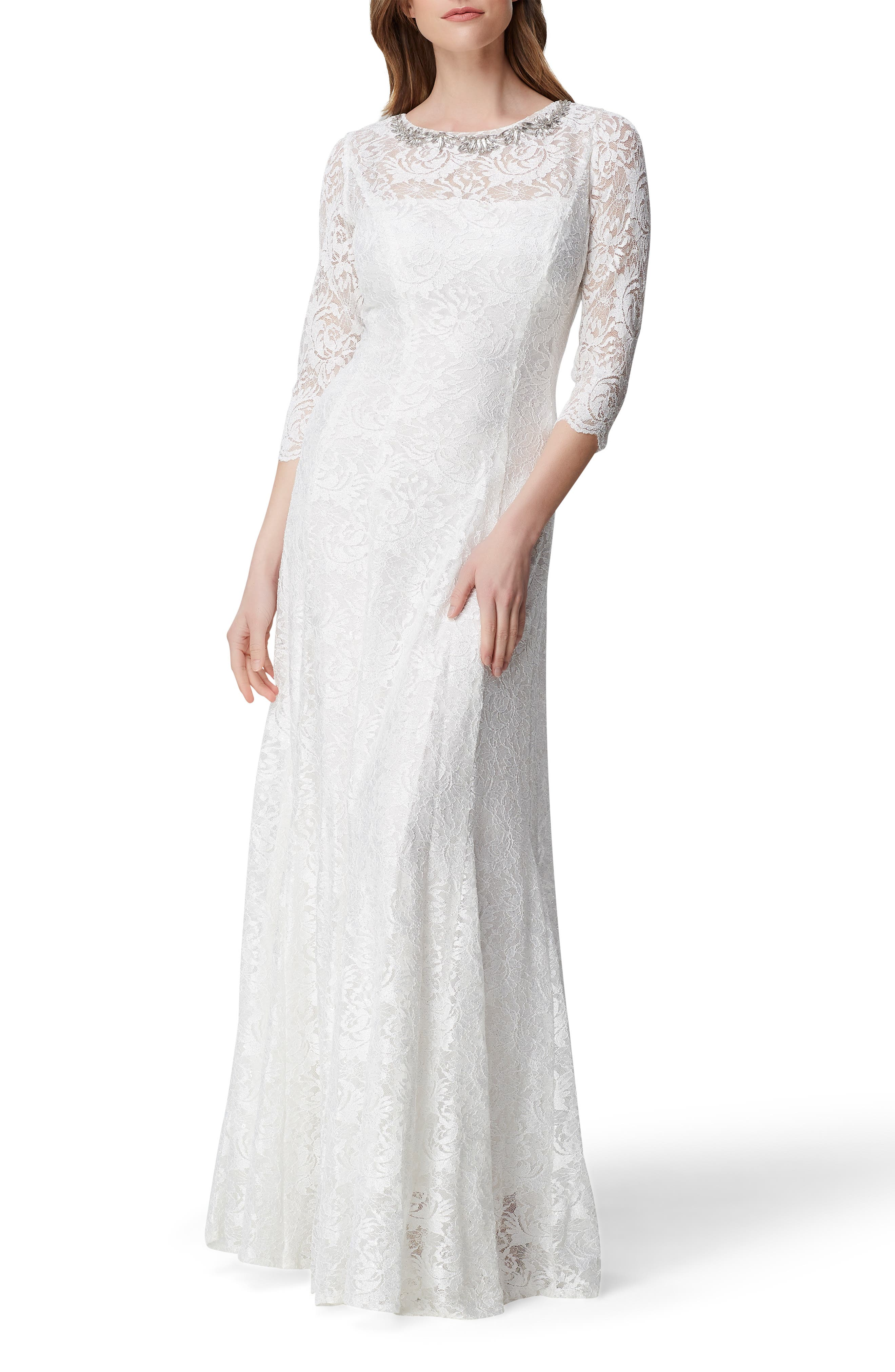 70s Prom, Formal, Evening, Party Dresses Womens Tahari Embellished Lace Gown Size 16 - Ivory $259.00 AT vintagedancer.com