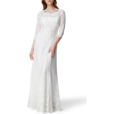 Tahari Embellished Lace Gown, Ivory