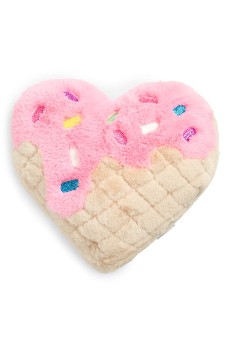 ISCREAM Plush Waffle Heart Accent Pillow, Main, color, PINK