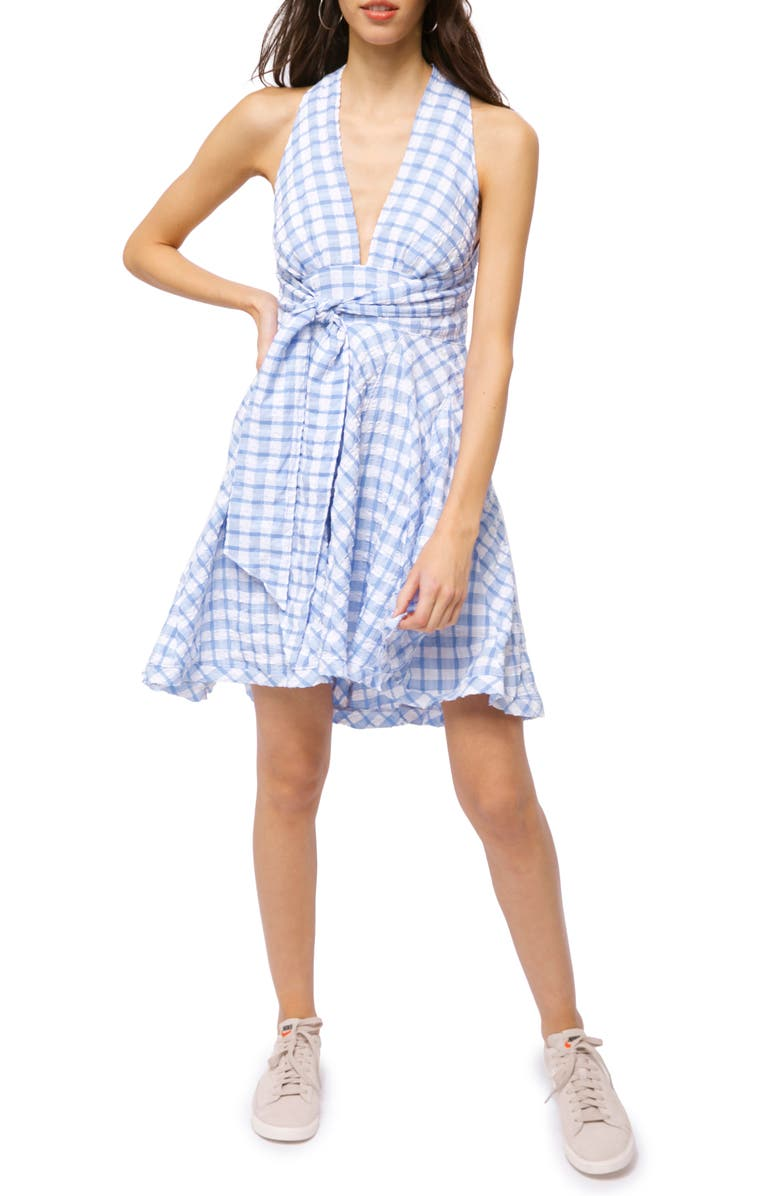 FREE PEOPLE Do the Twist Seersucker Halter Sundress, Main, color, BLUE COMBO