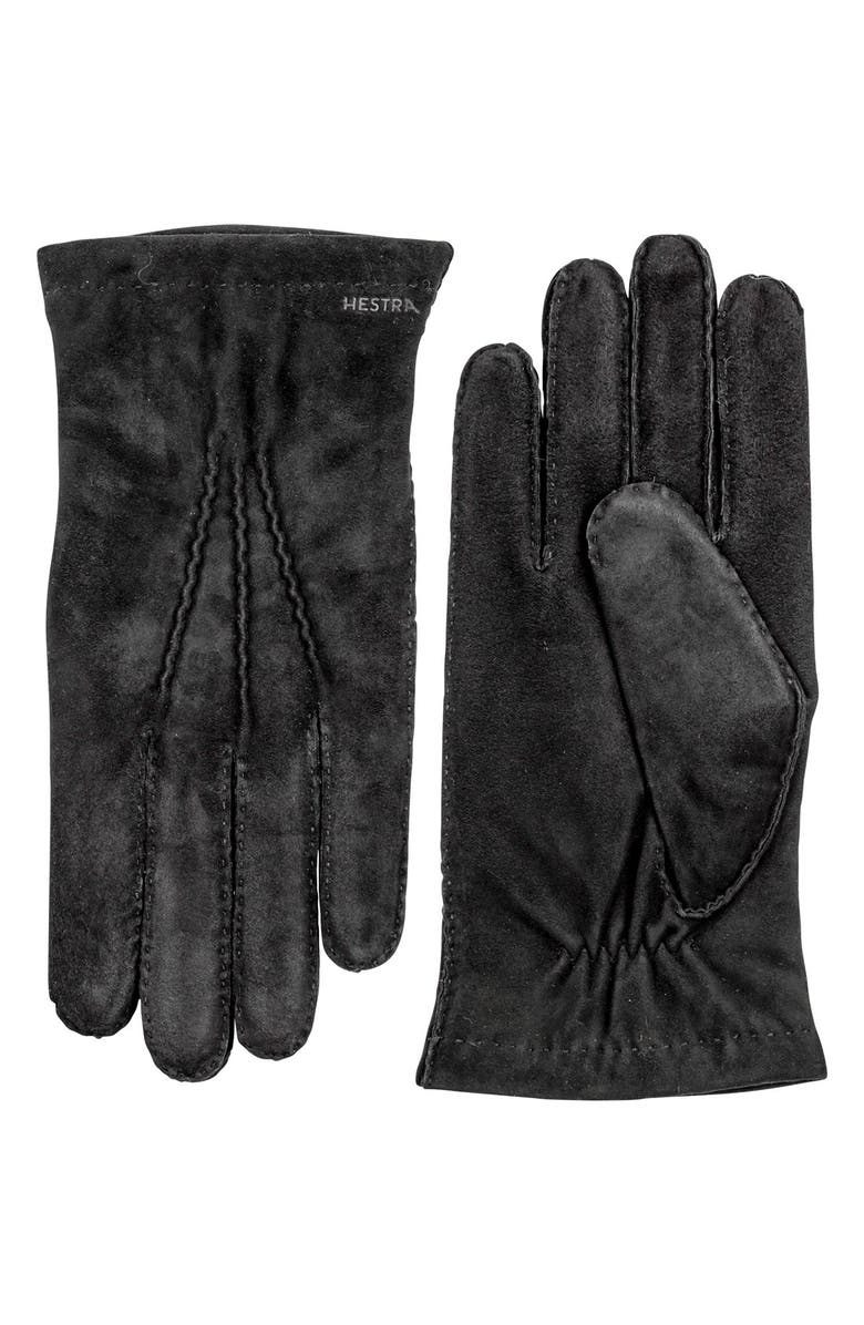 HESTRA 'Arthur' Suede Gloves, Main, color, BLACK