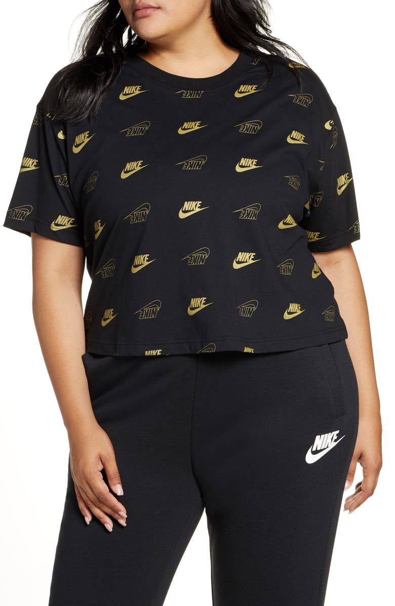 NIKE Sportswear BFF Shine Graphic Crop Tee, Main, color, 001
