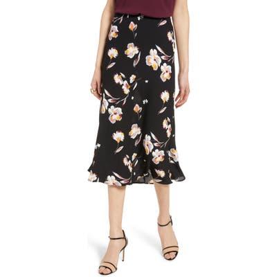 Halogen Bias Cut A-Line Skirt, Black