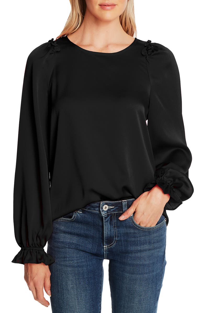 CECE Textured Satin Long Puff Sleeve Blouse, Main, color, RICH BLACK