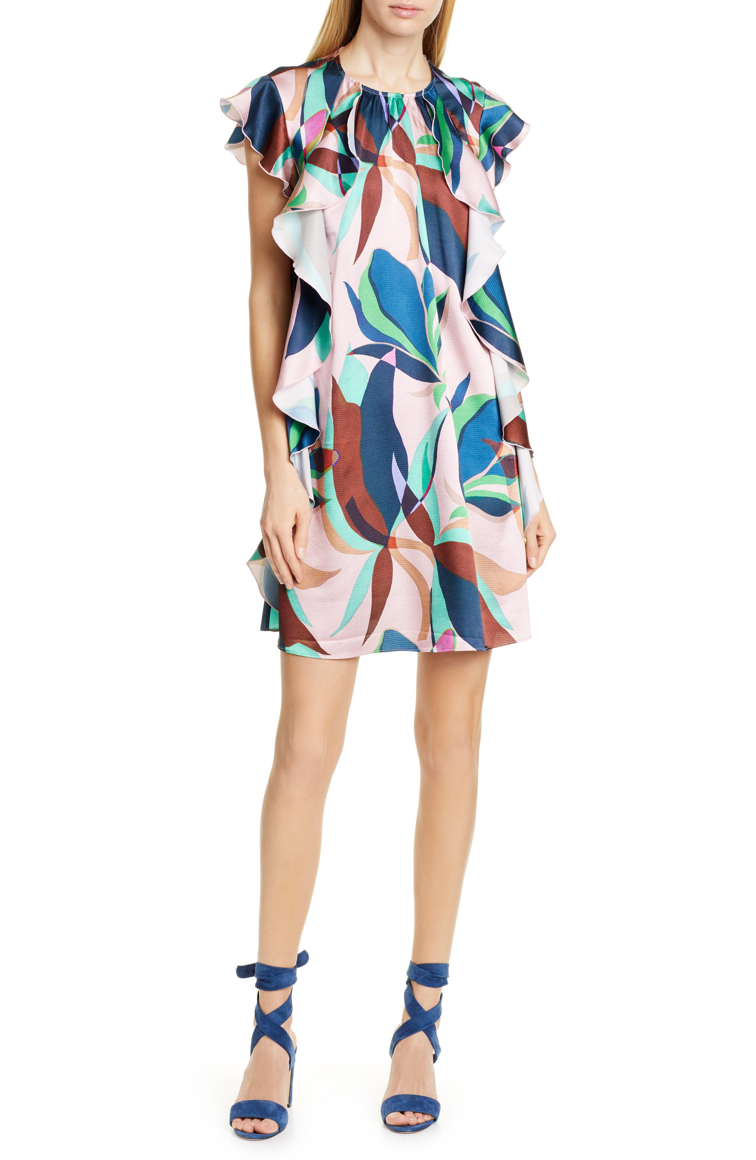 Ted Baker London Elizzar Supernatural Ruffle Detail Shift Dress, Pink
