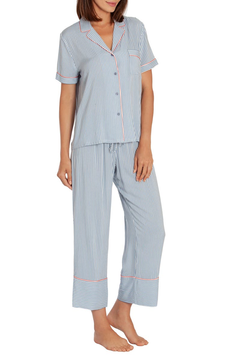 IN BLOOM BY JONQUIL Crop Pajamas, Main, color, IVORY/ DENIM-IVORY