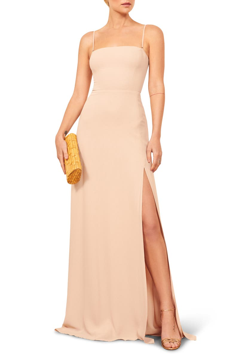 REFORMATION Ingrid Maxi Dress, Main, color, CHAMPAGE