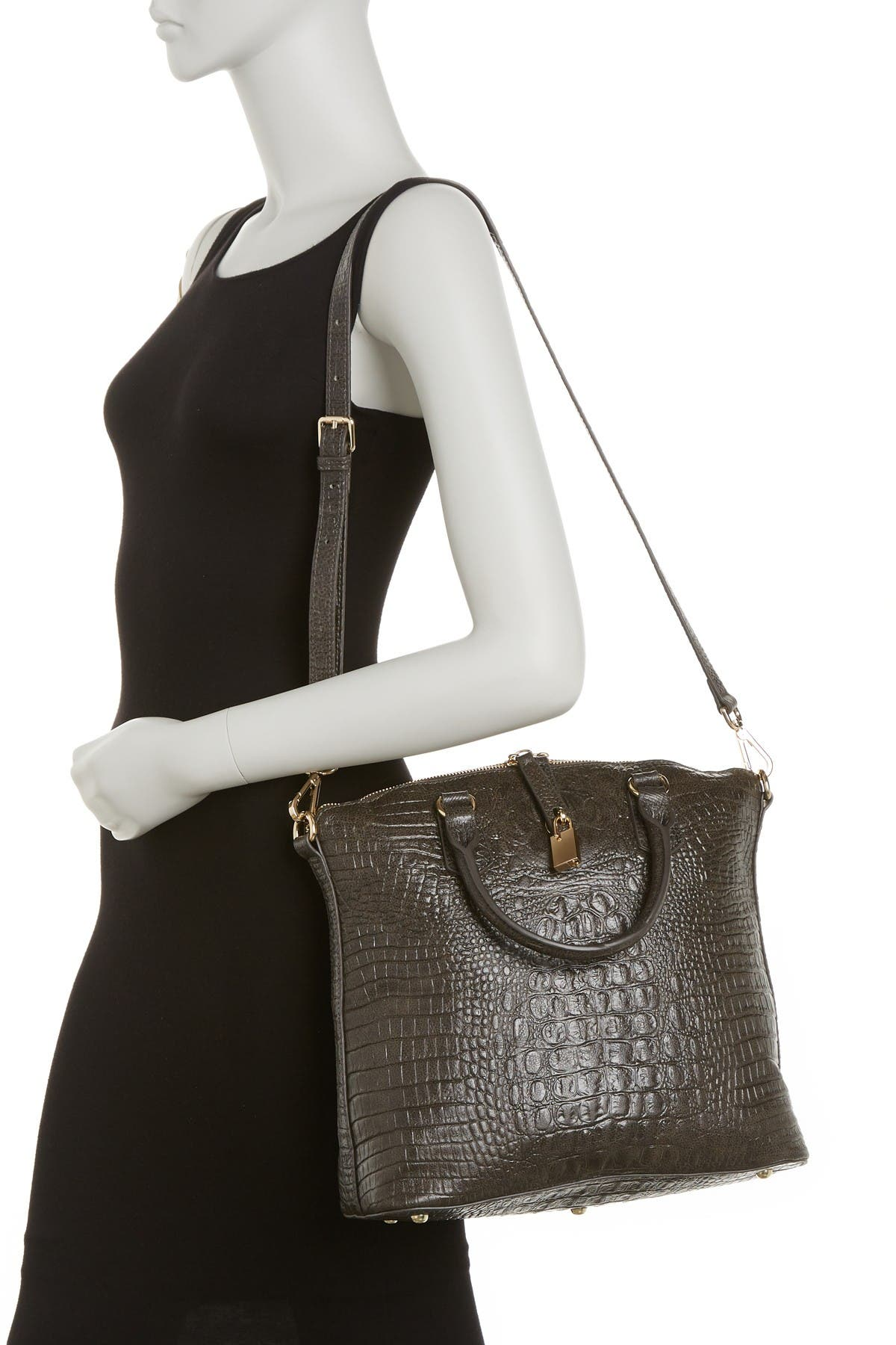 Image of Vicenzo Leather Dione Croc Embossed Top Handle Leather Tote