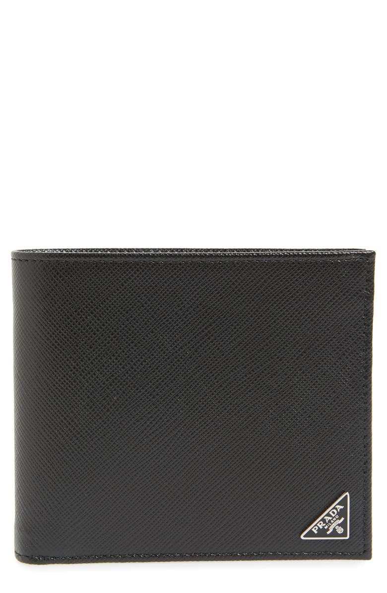 PRADA Leather Wallet, Main, color, NERO