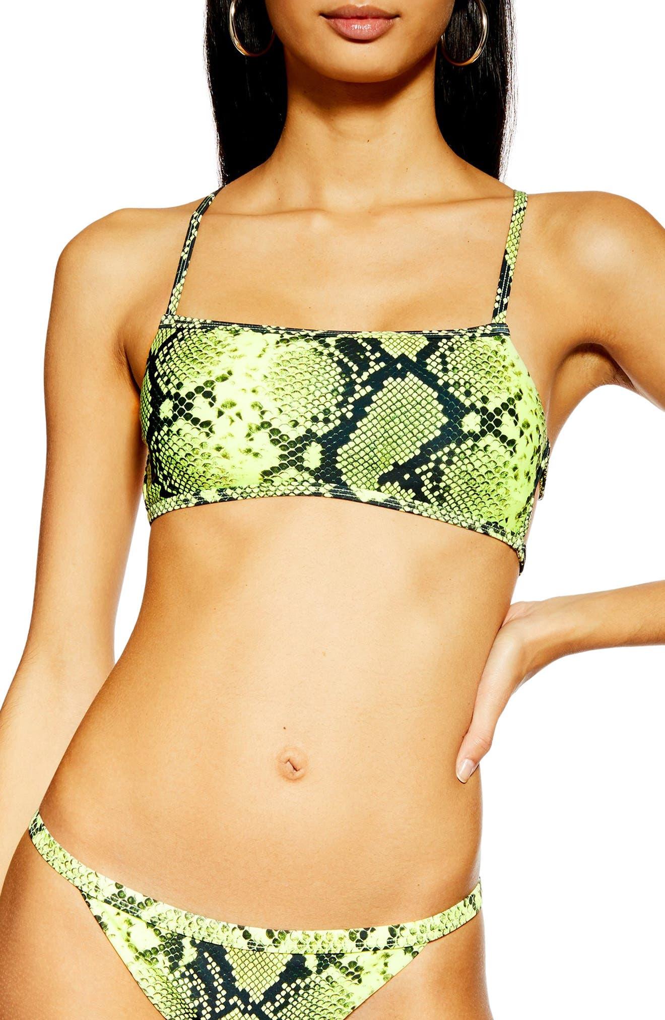 Topshop Neon Snake Bandeau Bikini Top, US (fits like 2-4) - Yellow