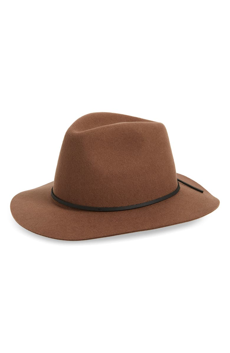 BRIXTON Wesley Felted Wool Fedora, Main, color, 001
