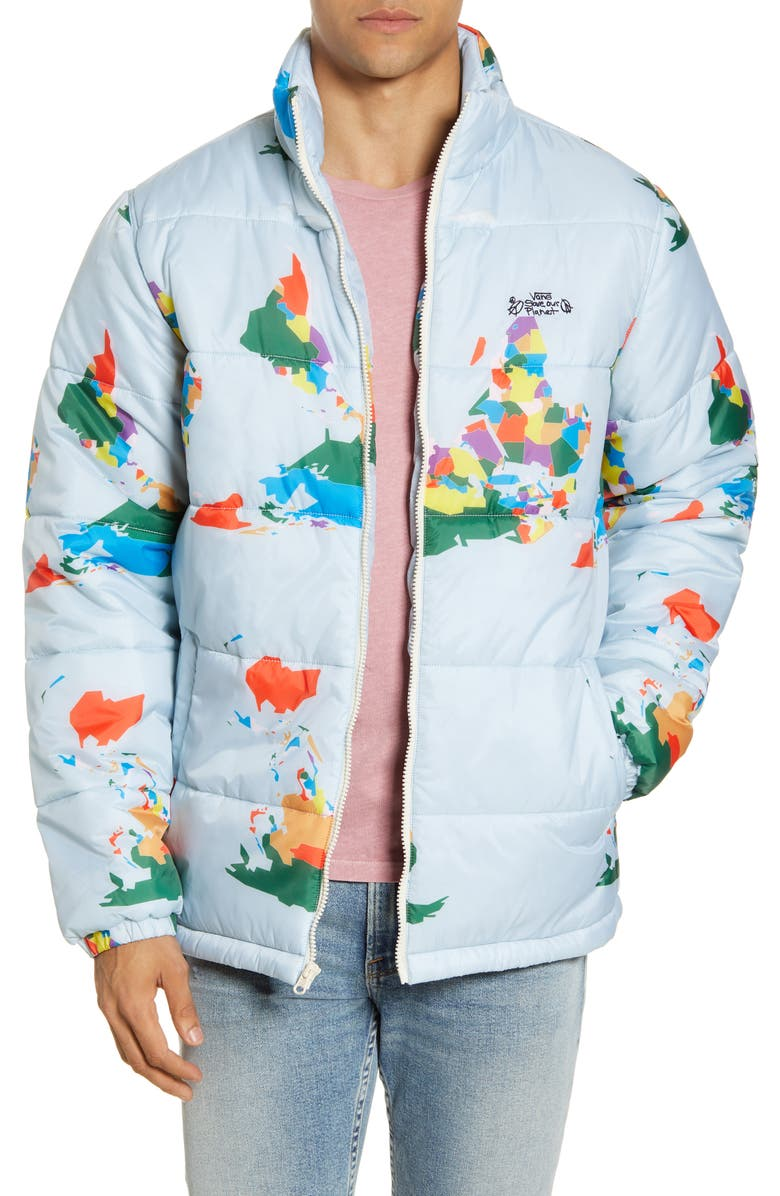 VANS Save Our Planet Puffer Coat, Main, color, 420