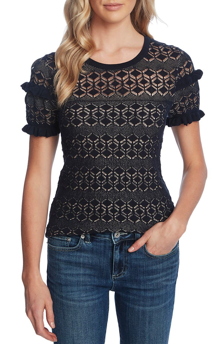 CECE Ruffle Detail Pointelle Short Sleeve Sweater, Main, color, 402