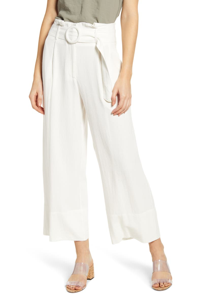 MOON RIVER Belted Wide Leg Paperbag Waist Pants, Main, color, 100