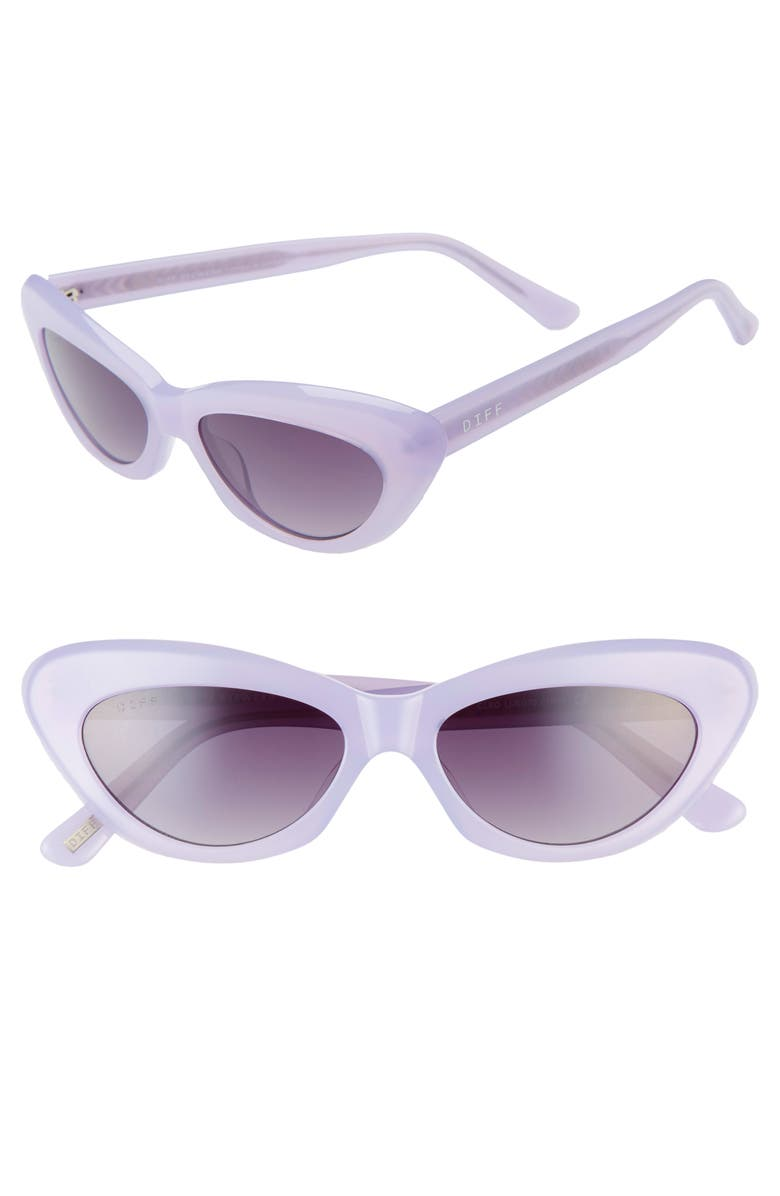 DIFF Cleo 48mm Cat Eye Sunglasses, Main, color, LILAC/ GREY
