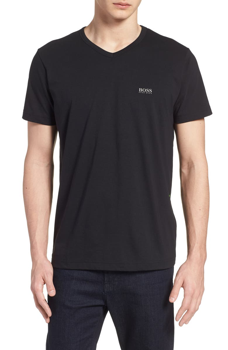BOSS Teevn Regular Fit V-Neck T-Shirt, Main, color, BLACK