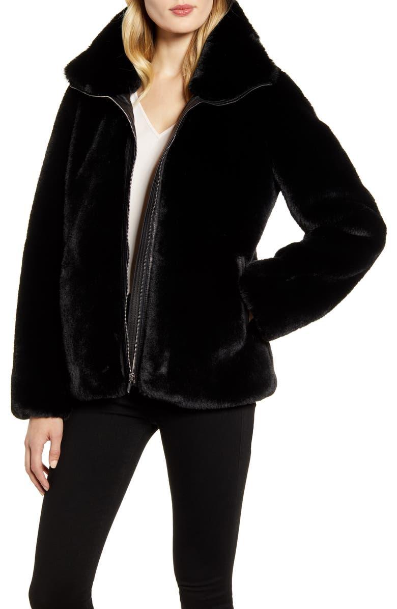 COLE HAAN SIGNATURE Faux Fur Jacket, Main, color, BLACK