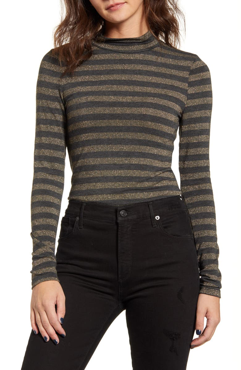 PST BY PROJECT SOCIAL T Metallic Mock Neck Stripe Top, Main, color, 020