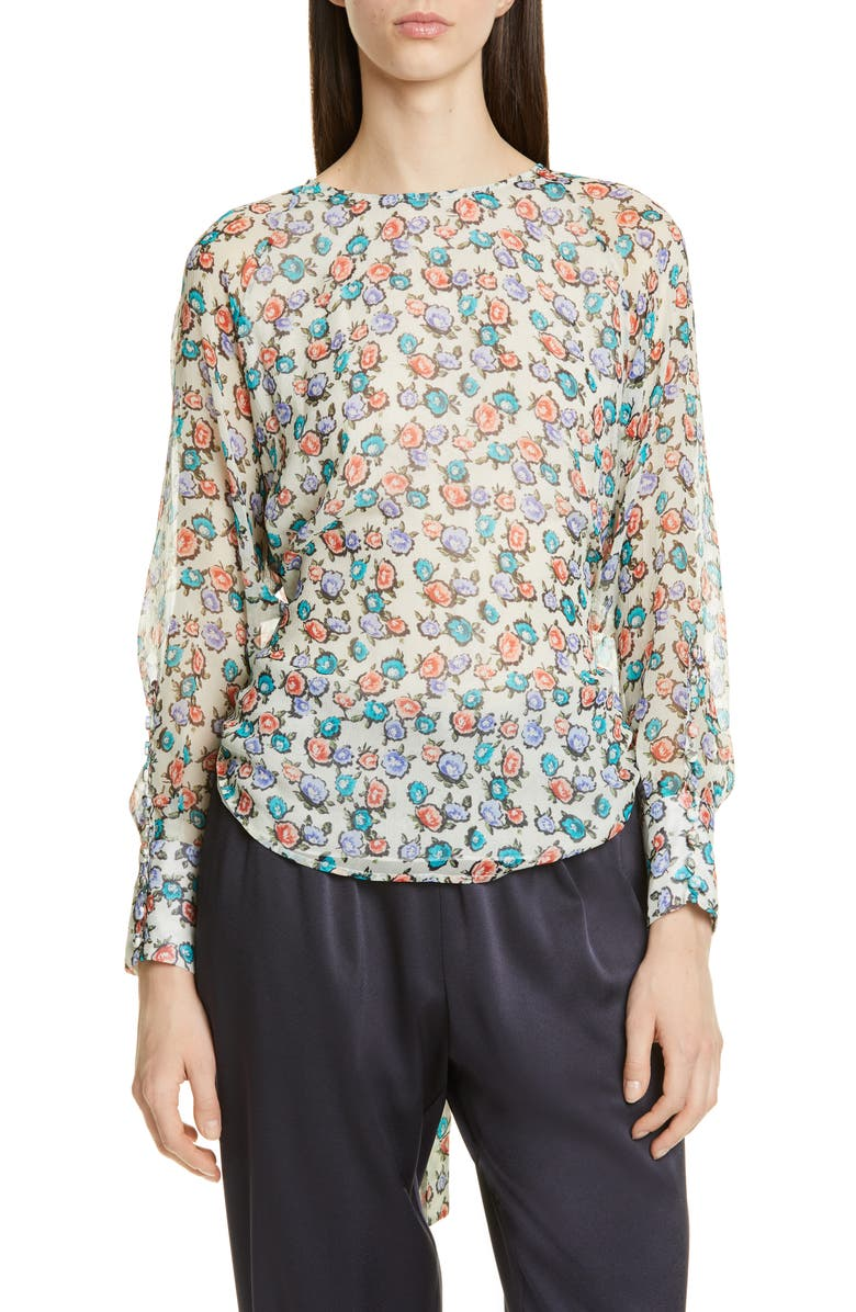 JASON WU Floral Print Silk Blouse, Main, color, CREAM MULTI