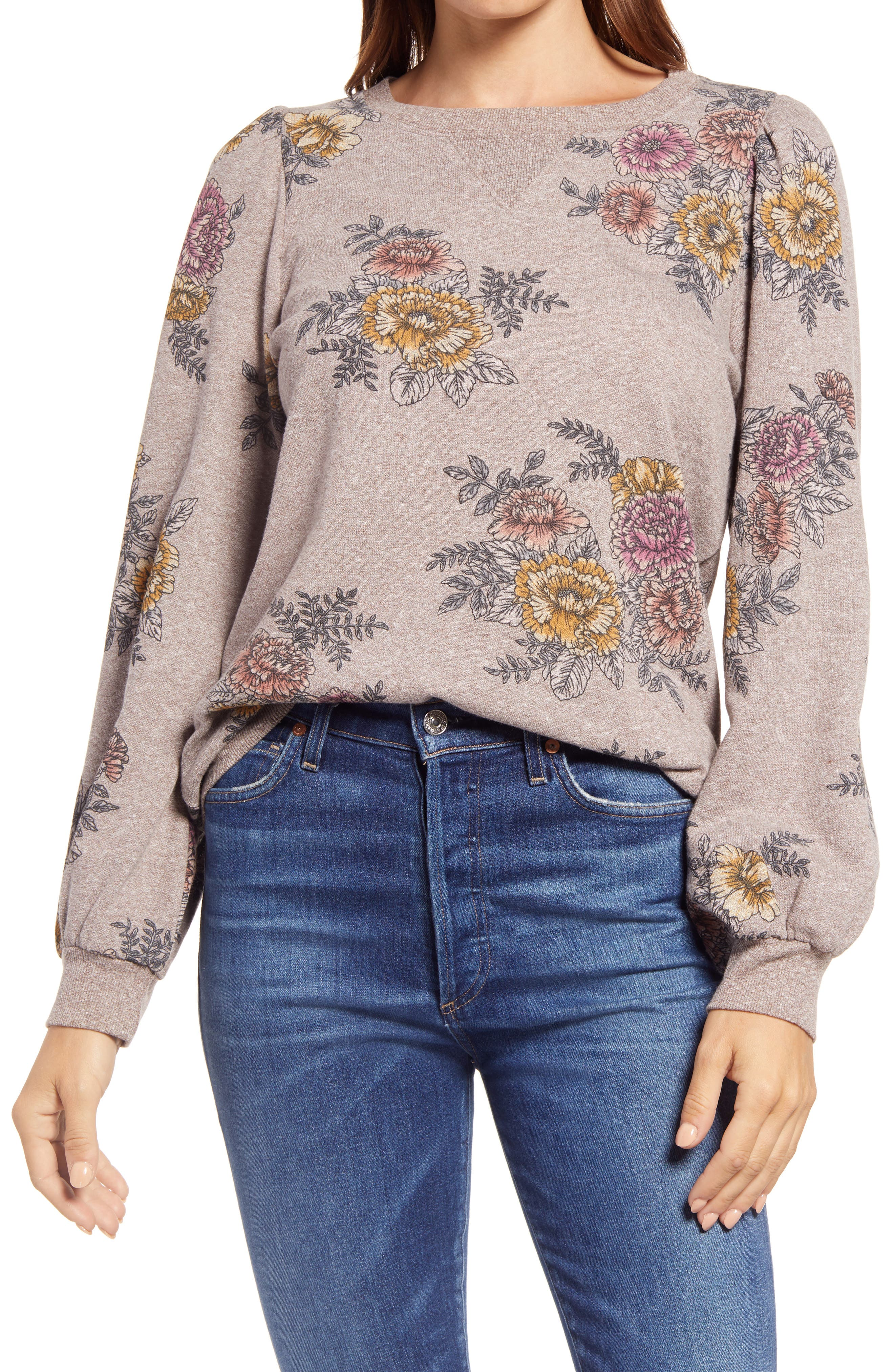 Vintage-inspired floral motifs add undeniable charm to a French terry sweatshirt finished with flowy blouson sleeves. Style Name: Wit & Wisdom Floral Print Blouson Sleeve Sweatshirt. Style Number: 6103820. Available in stores.