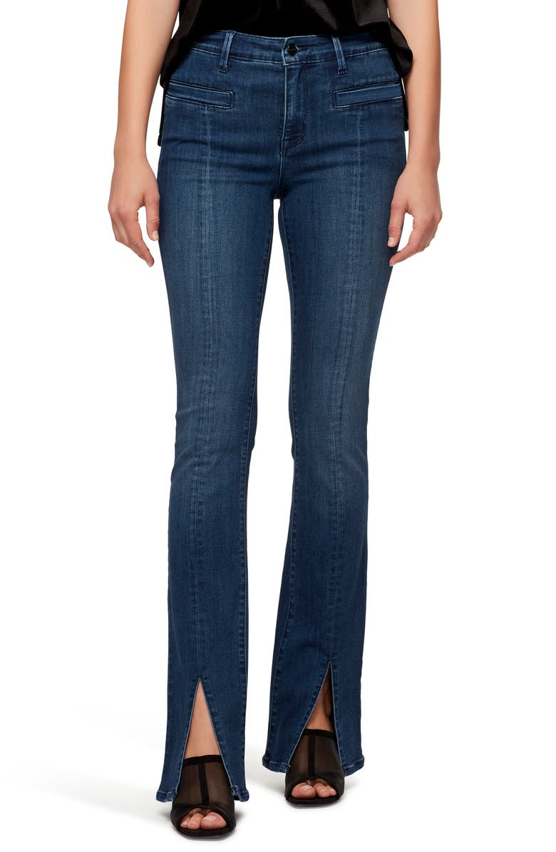 SANCTUARY Split Front Seam Bootcut Jeans, Main, color, TANAGER