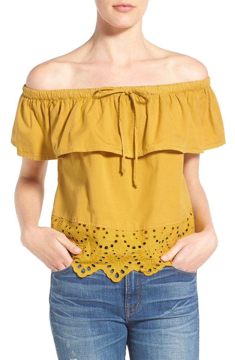 MADEWELL 'Balcony' Eyelet Off the Shoulder Top, Main, color, 800