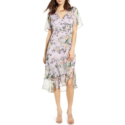 Astr The Label Floral Ruched Front Dress, Purple