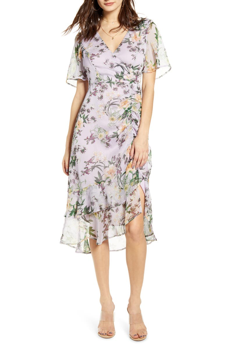ASTR THE LABEL Floral Ruched Front Dress, Main, color, LILAC FLORAL