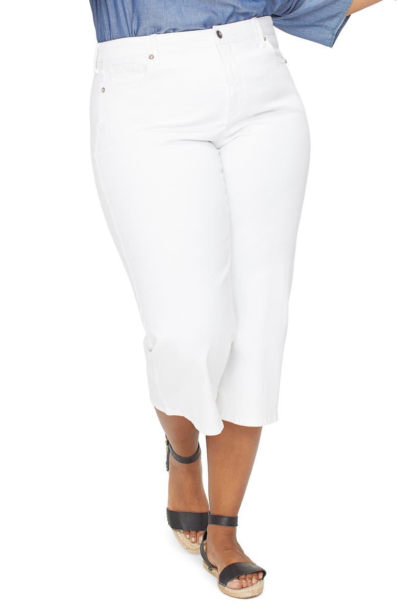 NYDJ Wide Leg Capri Jeans, Main, color, OPTIC WHITE